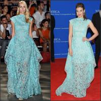 Wholesale Lauren 18w - See Through Celebrity Dresses 2017 Lauren Cohan Inspired Aqua Floral Sheer Organza Cap Sleeves Layered Lace Red Carpet Dress