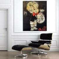 Wholesale Framed Alec Monopoly Richie Rich urban Art Handpainted Cartoon Graffiti Art Oil Painting on High Quality Canvas Home Decor Multi sizes