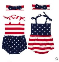 Wholesale Girl Suit Flag - Girls Rompers Kids INS Flag United States Onesies Big Bows Headband Suits Toddlers Print Summer Jumpsuits Baby Summer Fashion Rompers J450