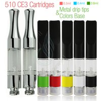 Wholesale Plastic Drip - New Colorful Base & Metal drip tips CE3 BUD Touch 510 Cartridges WAX Thick Oil Vaporizer Atomizer O Pen vapor Mini cartomizers vape Tank DHL