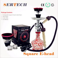 Non-Replaceable ehead Metal Square e head ehead e hose mini shisha Square Cartridge Refillable ehookah Disposable Hookah 2400MAH Vaporizer E Cigarette Kit