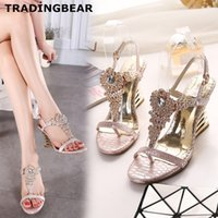 Chaussures Sexy Chaussures Glitter Gem Strass Talons hauts Sandales Wedge Rose Beige Taille 35 à 40
