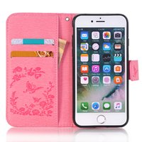 Butterflies Embossed Point drill Leather Case Pour iphone 5S 6S / 6S plus 7S / 7S Plus <b>8S Case</b> Cover Protector Frame
