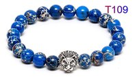Wholesale Beaded Items - Zenger lion nature strone bracelet aristocratic items sting ray leather cord bracelet luxury leather men stingray string armband sterling