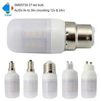 Wholesale e27 ac dc 12v - 5x ampolletas led bulb Ac Dc 12 to 24 volt corn bulbs E27 E14 E12 B22 G9 GU10 5730 27leds super bright ampul