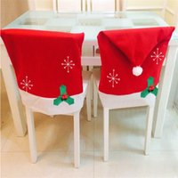 Wholesale Table Cloth Covers Wholesale - Wholesale-1 Pc Christmas Decoration Non-woven Snowflake Chair Covers Dinner Table Decor Chair Red Hat Sets Gift 50*65cm 0024
