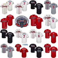 Wholesale 2017 Commemorative Patch Atlanta Braves Mens Dansby Swanson Freddie Freeman Bobby Cox Hank Aaron Cool Base Jersey Stitched