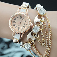 Long Leather Strap Rhinestone Chain Watches Montre femme haute qualité Punk Quartz Bracelet Montre Femme Montre Femme