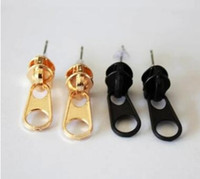 Wholesale Cheapest 14k - cheapest simple Geometric triangle zipper studs earrings three colors two styles