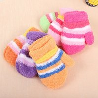 Wholesale Wholesale Kids Fleece Gloves - Hot Sell Baby Kids Gloves Coral Fleece Children Warm Winter Five Finger Soft Gloves Gifts Colorful Striped Candy 12 Colors Wholesale Q0668