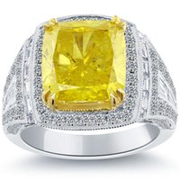 8.21 Fancy Yellow Radiant Cut Diamond Engagement Ring 14k Stile vintage