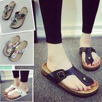 Wholesale Wholesale Mixed Sandals - Fashion Unisex Slippers Flip Flops Summer Beach Cork Shoes Slides Girls Flats Sandals Casual Shoes Mixed Colors b903
