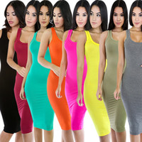 Wholesale Sleeveless Vests Summer Ladies - sexy night club dress bodycon dresses summer ladies fashion tops cotton maxi Vest Longuette Skirt Suit-dress length black white clothes 2016