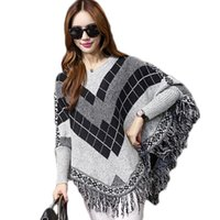 Atacado-Novo Design Oversize Mulheres Camisola Batwing Poncho Capes Pullover Long Sleeve Cashmere Inverno Tassel Geometric Pull Jumper MF7854