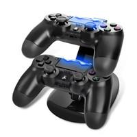 стенд для игр оптовых-Зарядное устройство с двумя контроллерами Зарядное устройство для док-станции для Sony PlayStation 4 PS4 PS 4 X-box One Game Gaming Беспроводной пульт контроллера