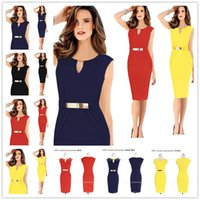 Wholesale Women Business Wear - 2017 New Womens Elegant Vintage Square Neck Peplum Tunic Wear To Work Office Business Casual Pencil Sheath Fitted Dress