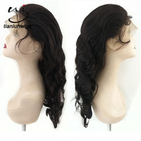 Wholesale Large Cap Remy Wigs - chinese supplier wholesale 16inch #1B color 130% density virgin remy human hair full lace front wigs with cap