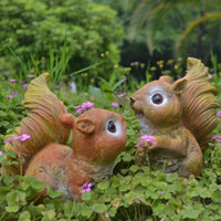 Wholesale Resin Squirrels - Gardening resin ornaments garden sculpture resin crafts garden simulation squirrel couple animal Cute squirrels Free shipping