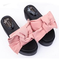 Wholesale Spool Sliders - 2017 new fashion Women Comfy Plain Rubber Slippers Flip Flop Bow Sliders High Heel Sandals wholesale A2000