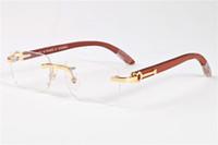 marcos de madera para gafas al por mayor-2017 Hombres Sin Montura Gafas De Madera Gafas de Cuerno de Búfalo Marca Francia Diseño Gafas de sol ópticas Mujeres Gafas de madera de oro Marcos de gafas