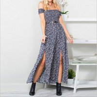 Wholesale Hollow Chest Peplum Dress - Hot style 2017 summer new products in Europe and the sexy wrapped chest printed open fork dress does not include belt women beach dress