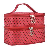 Wholesale double layer makeup bag for sale - Group buy Womens Fashion Portable Toiletry Bag Dot Pattern Double Layer Makeup Bag Organizer