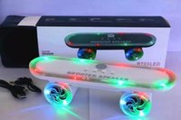Wholesale Led Lights Scooters - Newest gift Skateboard Bluetooth Wireless scooter Speaker Mobile Audio Mini Portable Speakers with Led Light Free DHL