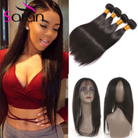 Wholesale Straight Closure Density - Peruvian Hair Weaves with Closure 8A Straight 360 Lace Frontal with 3 Bundles 130% Density hair bundles with 360 Lace Frontal