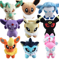 Wholesale Poke Plush Toys Poke Ball Stuffed Dolls Umbreon Eevee Espeon Jolteon Vaporeon Flareon Glaceon Leafeon Animals Soft Stuffed Dolls Toy TOP1521
