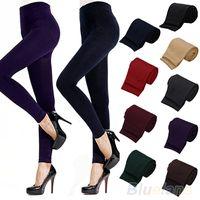 Wholesale Winter Leggings Womens - Wholesale- 2016 hotFitness High Street Lady Womens Winter Warm Skinny Slim Stretch Thick Footless Leggings 8QB8