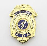 Wholesale Gift Service - US FDA FOOD Badge FOOD ADMINISTRATION FDA INVESTIGATOR BADGE Public Health Service Metal Badge Halloween Cosplay Toy Gift Brooch
