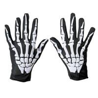 Wholesale fancy dresses short for sale - Group buy Unisex Women and Men Wrist Length Scary Gloves Halloween Skeleton Bone Print Short Gloves Fancy Dress Black Green Gloves