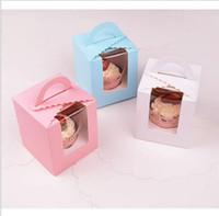 süßigkeiten-box rosa großhandel-Kitchen Cupcake 9,5 * 9,5 * 11 cm Classic Candy Paper Box Rosa Weiß Lila Grün Einzelverpackung Cupcake Box mit Innenboden