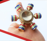 Wholesale Toy Horns - Brass EDC Hand spinner Hand Spinner 6 Horns Fidget Spinner DIY Ceramic Bearing Focus Toys #001