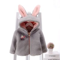 Wholesale 3 Colors New Arrival Winter Coat for Girl Rabbit Ears Hooded Warm Coat Kids Jacket Outerwear Baby girls Clothes Infant Clothing