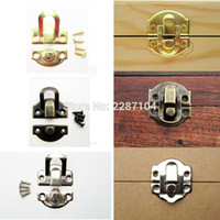 Wholesale Wooden Wine Gift Boxes Wholesale - Wholesale- 12pcs Decorative Iron Antique Brass Silver Golden Jewelry Box Gift Wine Wooden Case furniture Hasp Latch Lock Clasp 26mm X 29mm