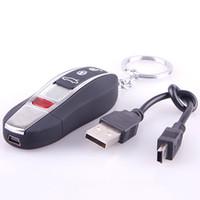 cigarro cigarro isqueiro usb usb venda por atacado-USB Eletrônico Sem Chama Charuto Isqueiro Recarregável W / Key Ring 05 # 47668
