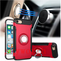 Wholesale Magnetic Metal Clips Wholesale - Ring Kickstand Armor Case For iPhone 8 7 6 plus Shockproof Samsung Galaxy S8 s7 edge J7 J5 Hybrid cover Magnetic Car Holder