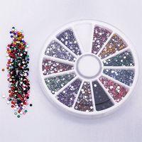 Wholesale Diy Rhinestone Glitters - 2016 2.0mm 12 Colors Glitter Tips Rhinestones Gems Flat Gemstones Nail Art Stickers Beauty DIY Decorations Wheel 5W1A 7GTX 8LJQ