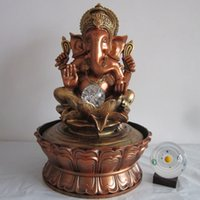 Ganesha Statue Water Fountain Decorativo Fengshui Craft Creative Resin Desktop Ornament Humidificador de ar interior Decoração para casa