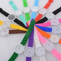 Wholesale Silicon Sport Wristwatch - Luxury Brand Geneva Watches Hollow Pointer Rubber Silicon Candy Sports Watch Quartz Fashion Automatic Luxury Mens Women Wristwatch Watches
