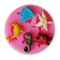 Wholesale 3D Sea Animal Silicone Fondant Cake Mold Soap Candle Mold Chocolate Candy Mould Moulds DIY Decorating Baking Pink Kitchen Tools