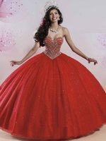 Wholesale Orange Shiny Skirt - Sparkly Pageant Ball Gown Party Dress Puffy Shiny Skirt Masquerade Quinceanera Dresses Red 2017 Vestidos De 15