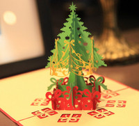 Wholesale Handmade Souvenirs - 100pcs Merry Christmas Tree Vintage 3d Laser Cut Pop Up Paper Handmade Custom Greeting Cards Christmas Gifts Souvenirs Postcards