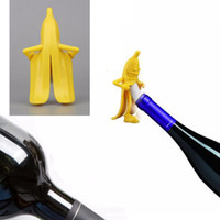 Wholesale Soda Stopper - LJ-107 Funny Mr.Banana Wine Bottle Stopper Airlock Kit Corkscrews Soda Wine Beer Bottle Opener Cork Plug Kitchen Barware Bar Tools