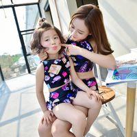 Wholesale Hot Pink Swimsuit 4t - Family Swimming Set Mum Girl Swim Suits 2pcs Set Mother And Daughter Hot Spring Bathing Swimwear Bikni Sets Swimsuits 3piece Set A6050