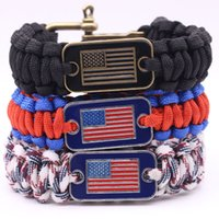 Wholesale Green Survival Bracelet - Braided Outdoor Camping Rescue Paracord Bracelets With American National Flag Charm Stainless U Buckles Survival Bracelet