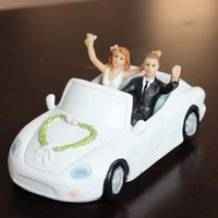 Wholesale Married Cake - Cake Toppings Honeymoon Waving In Car Couple Wedding Cake Topper -Just Married Bride And Groom Wedding Unique Decoration Figurine