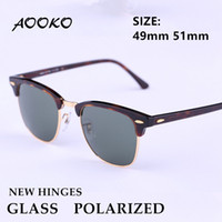 Wholesale Retro Sunglasses Uv Protection - AOOKO New Hinges Glass Polarized Sunglasses Top Quality Master Men Sun Glasses Women Semi Rimless Retro UV Protection Sunglass 51mm 49mm