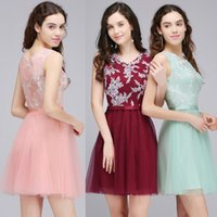 Wholesale Cheapest Pink Cocktail Dress - Under $30 Cheapest Lace Tulle Homecoming Dresses Jewel Neck A Line Appliqued Cocktail Gowns Free Shipping CPS710